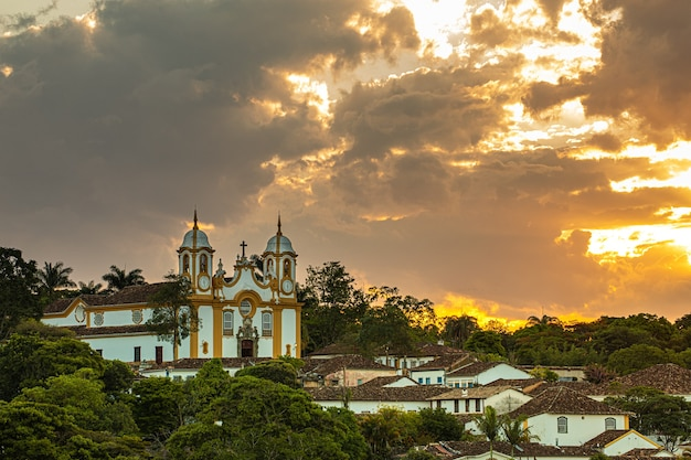 Matriz de santo antonio church, colonial city of tiradentes, minas gerais state, brazil