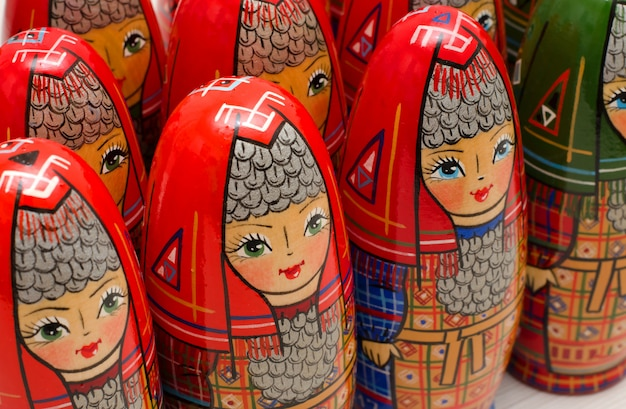 Matryoshka. lot of dolls in national dress