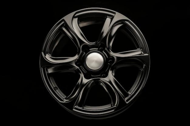 Matte black alloy wheel, close-up front view