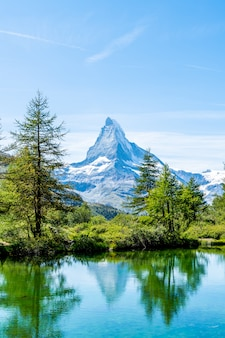 Matterhorn with grindjisee lake in zermatt