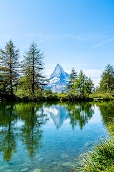 Matterhorn with grindjisee lake in zermatt