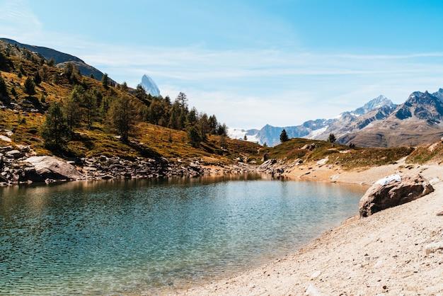Matterhorn with grunsee lake in zermatt
