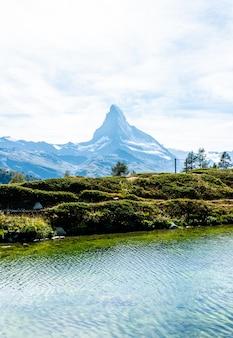Matterhorn with leisee lake in zermatt
