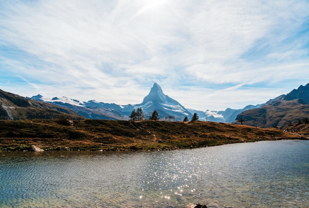 Matterhorn with leisee lake in zermatt