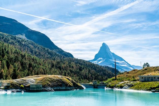 Matterhorn with mosjesee lake in zermatt