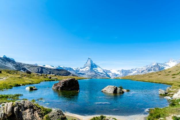 Matterhorn with stellisee lake in zermatt