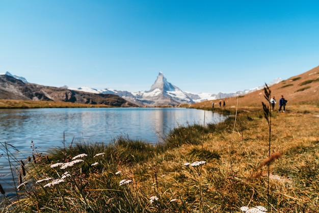 Matterhorn with stellisee lake in zermatt Premium Photo
