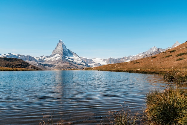 Matterhorn with stellisee lake in zermatt