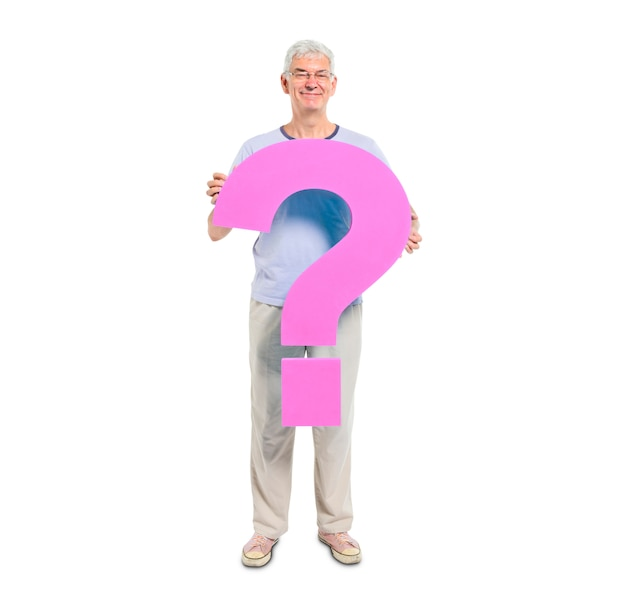 Mature adult holding question mark symbol
