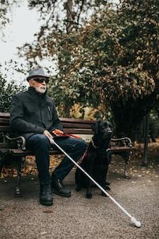 彼の盲導犬と一緒に公園に座っている長い白い杖を持つ成熟した視覚障害者。