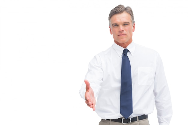 Mature businessman ready to shake hand