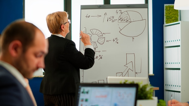 Mature businesswoman writing on white board, presenting sales evolution answering question interacting with audience at corporate workshop, business coach and worker talking during conference training