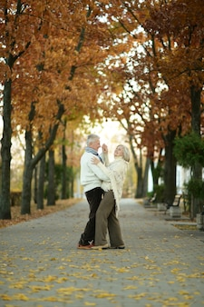 Mature couple dancing in the autumn park