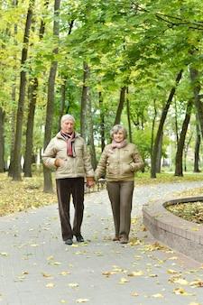 Mature couple having fun in the autumn park