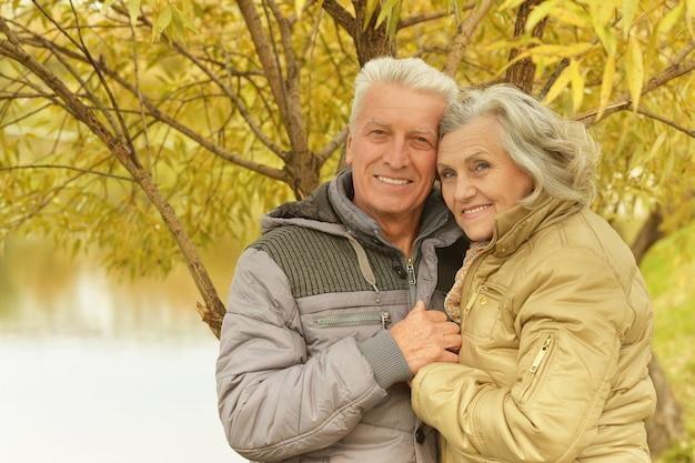 秋の公園で成熟したカップル