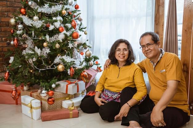 クリスマスツリーの近くの成熟したカップル