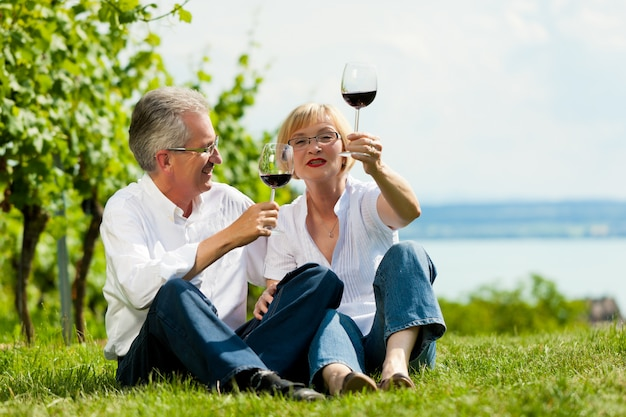 Mature couple sitting at lake in summer drinking wine