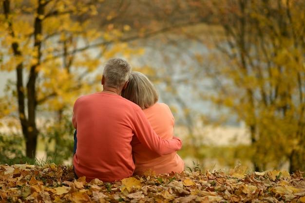 호수 후면보기 근처에 앉아 성숙한 커플