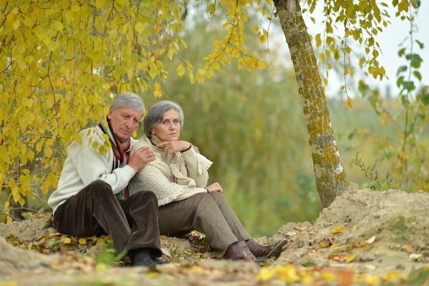 公園で屋外で時間を過ごす成熟したカップル