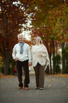Mature couple walking in the autumn park