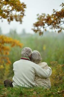 秋の公園を歩く成熟したカップル