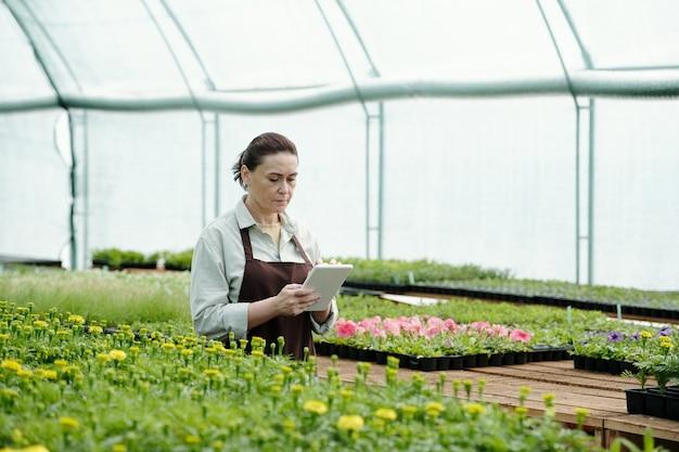 새로운 종류의 꽃에 대한 온라인 데이터를 스크롤하는 성숙한 여성