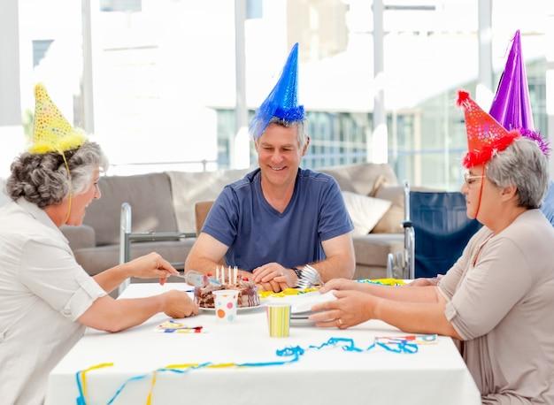Mature friends on birthday