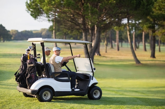 Mature golfer friends sitting in golf buggy