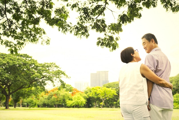 Mature and happy japanese couple