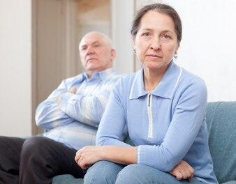Mature married couple having quarrel