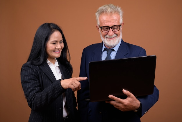 Mature multi-ethnic business couple on brown
