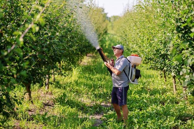 Зрелый крестьянин в рабочей одежде, шляпе и с современной машиной для распыления пестицидов на спине, опрыскивая насекомых в саду.