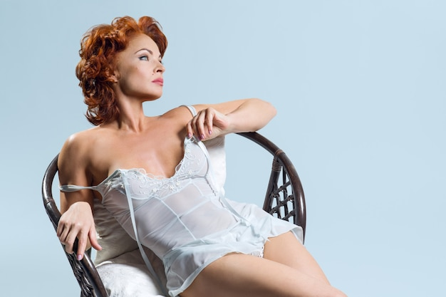 Mature red-haired pretty woman