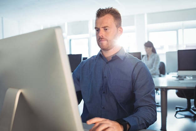 Mature students using computer