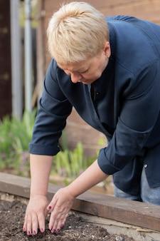 成熟した女性庭師は植えられた種子を土で覆い、種子を植える