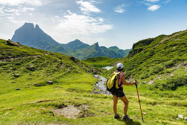 Mature woman hiking in the pyrenees mountains