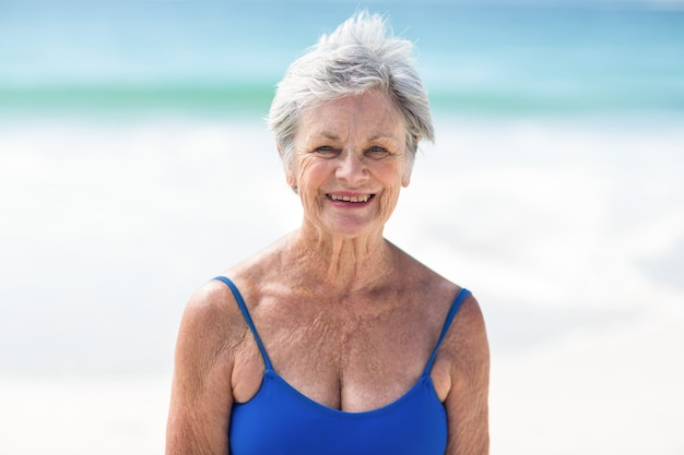 Mature woman posing in swimsuit