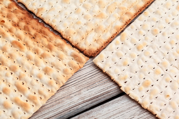 Matzo flatbread for jewish high holiday celebrations on the table