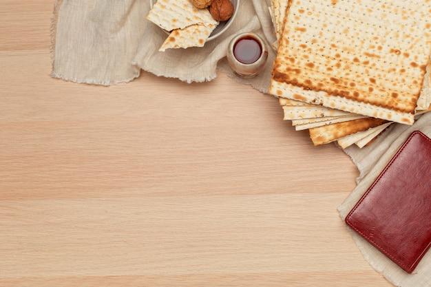 Matzo, matzoth for jewish passover, wooden close up