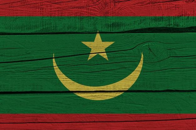 Mauritania flag painted on old wood plank