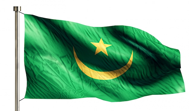 Mauritania bandiera nazionale isolato sfondo bianco 3d