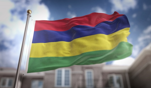 Mauritius flag 3d rendering on blue sky building background