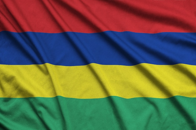 Mauritius flag  is depicted on a sports cloth fabric with many folds.