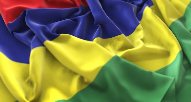 Mauritius flag ruffled beautifully waving macro close-up shot