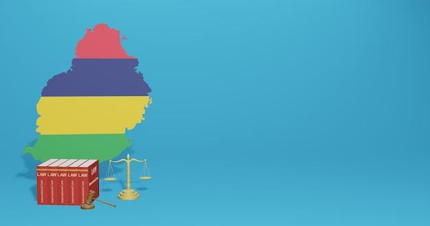인포 그래픽에 대한 모리셔스 법, 3d 렌더링의 소셜 미디어 콘텐츠