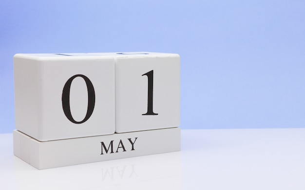 May 01st. day 1 of month, daily calendar on white table
