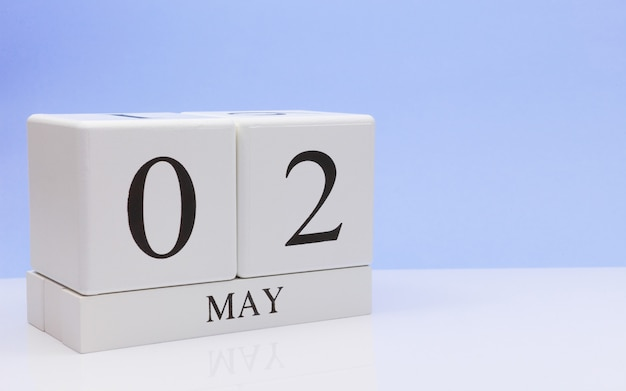 May 02st. day 2 of month, daily calendar on white table