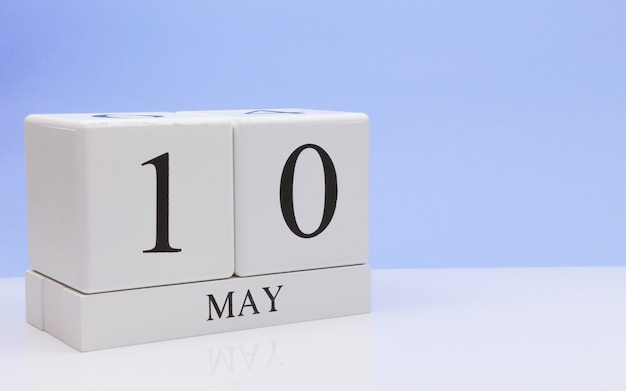 May 10st. day 10 of month, daily calendar on white table
