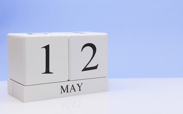 May 12st. day 12 of month, daily calendar on white table