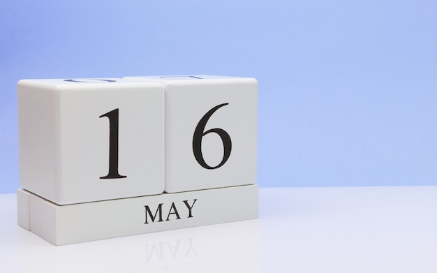 May 16st. day 16 of month, daily calendar on white table